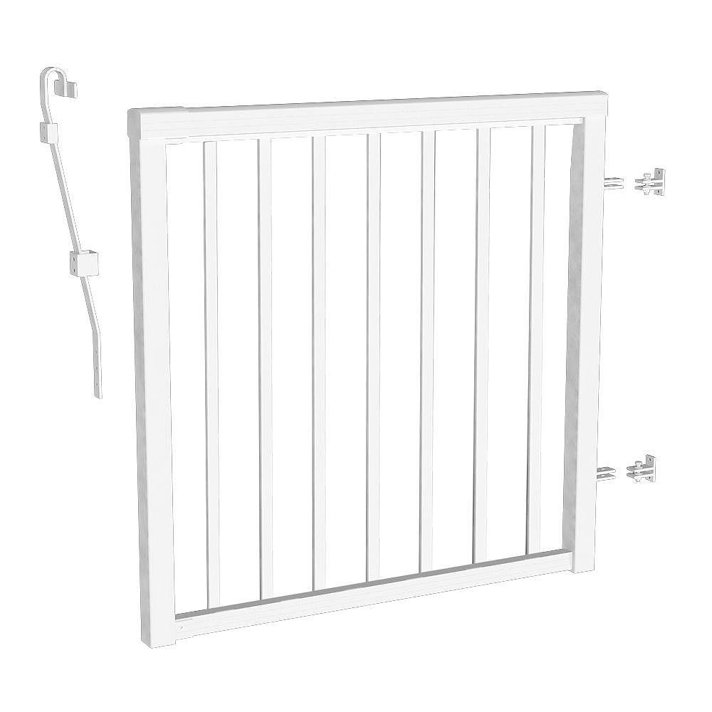 Peak Railblazers 42-inch H Aluminum Deck Railing Picket Gate in White