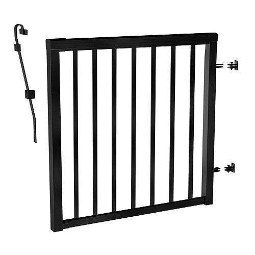 Barrière avec barreaux de rampe en aluminium, 42 po, en noir mat