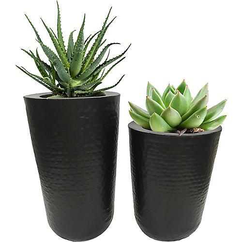 Jamin Iron Decorative Indoor and Outdoor Planter in Black (Set of 2)