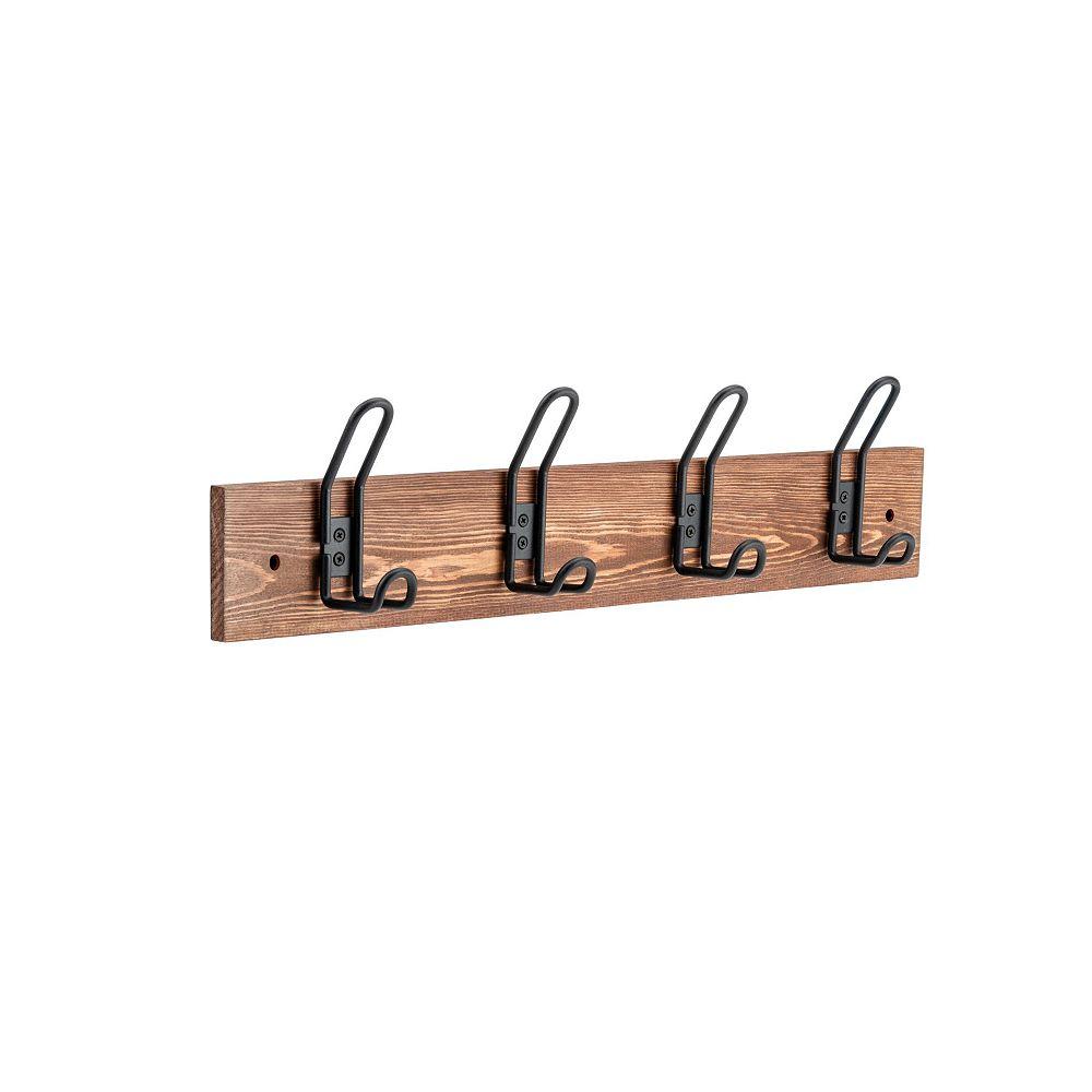 Nystrom Utility Matte Black Hooks on Rustic Wood Rack