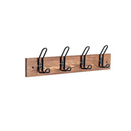 Utility Matte Black Hooks on Rustic Wood Rack