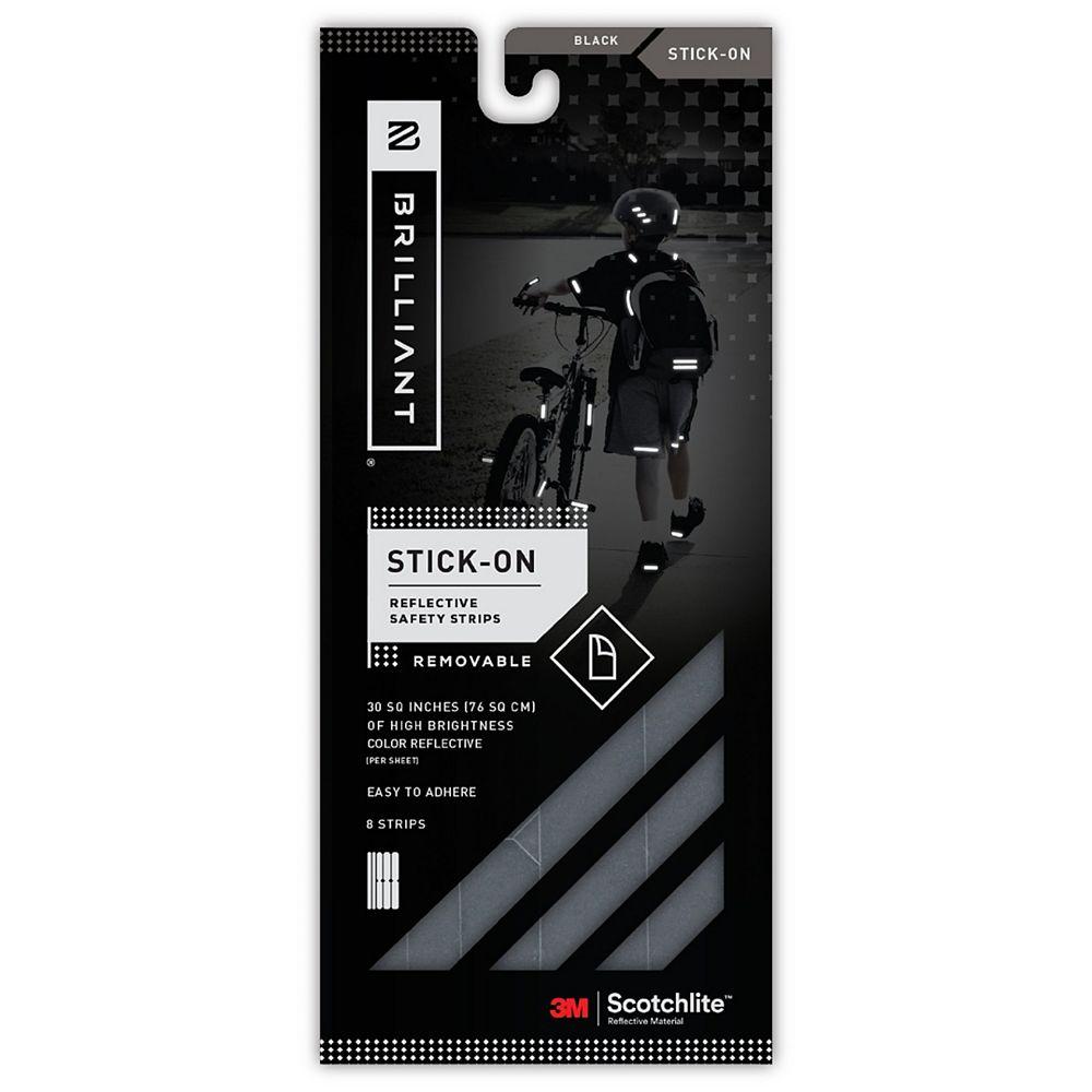 Brilliant Reflective Strips Stick-On Black (8 Strips)