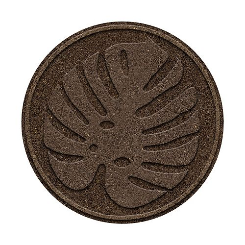 Multy Home 18 in x 18 in Tropical Leaf Rubber Stepping Stone, Earth