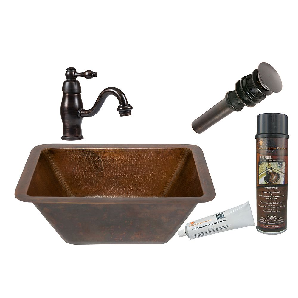 Premier Copper Products All-in-One Dual Mount Rectangle Copper 17 inch 0-Hole Bathroom Sink in Oil Rubbed Bronze