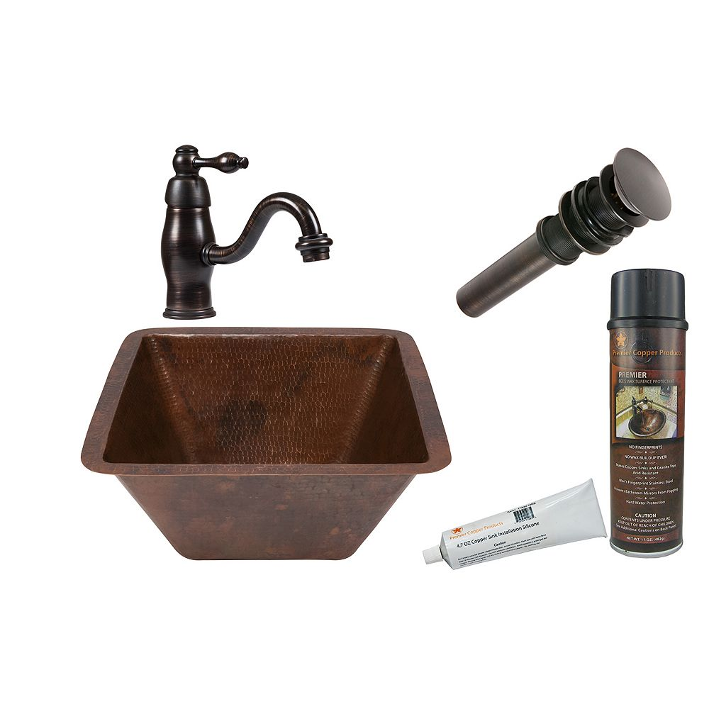 Premier Copper Products All-in-One Dual Mount Square Copper 15 inch 0-Hole Bathroom Sink in Oil Rubbed Bronze