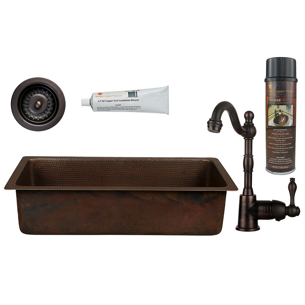 Premier Copper Products All-in-One 28 inch Copper Bar Sink in ORB with 3.5 inch Drain Opening and Strainer Drain