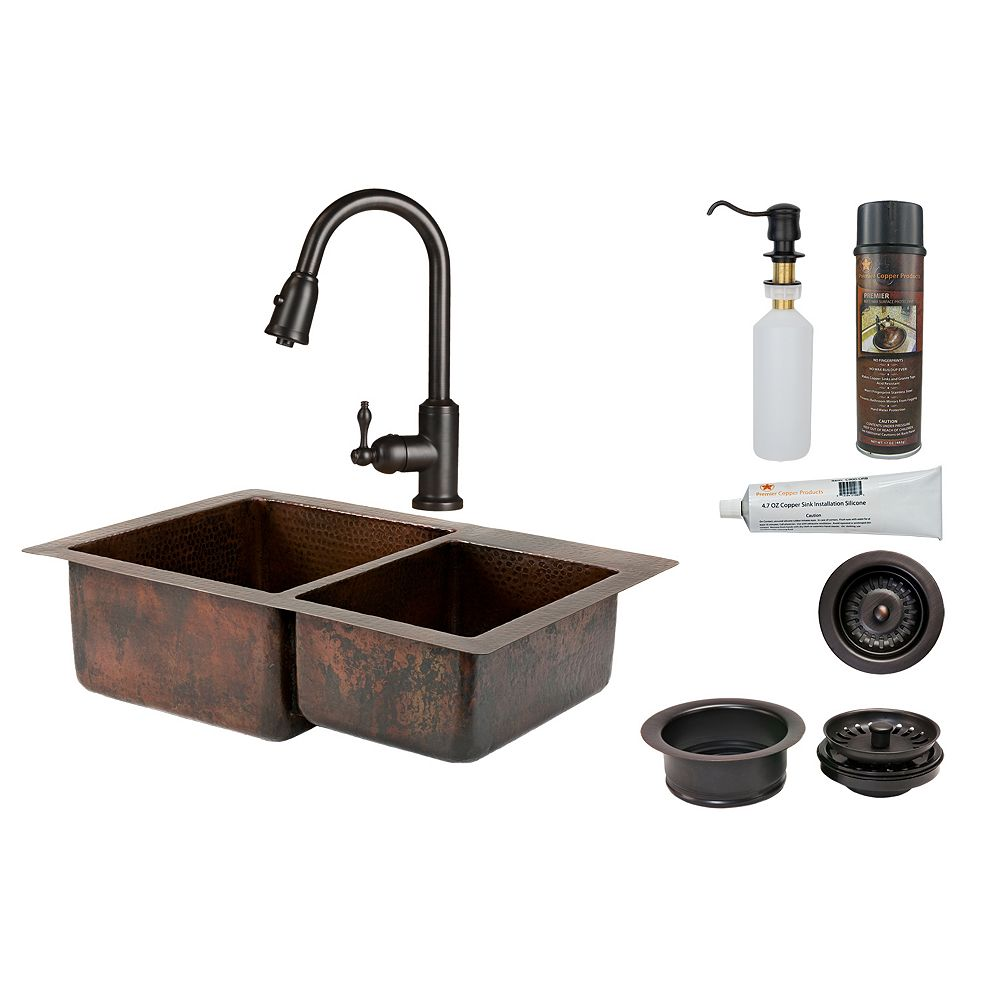Premier Copper Products All-in-One Dual Mount Copper 33 inch 0-Hole Double Bowl 60/40 Kitchen Sink in Oil Rubbed Bronze