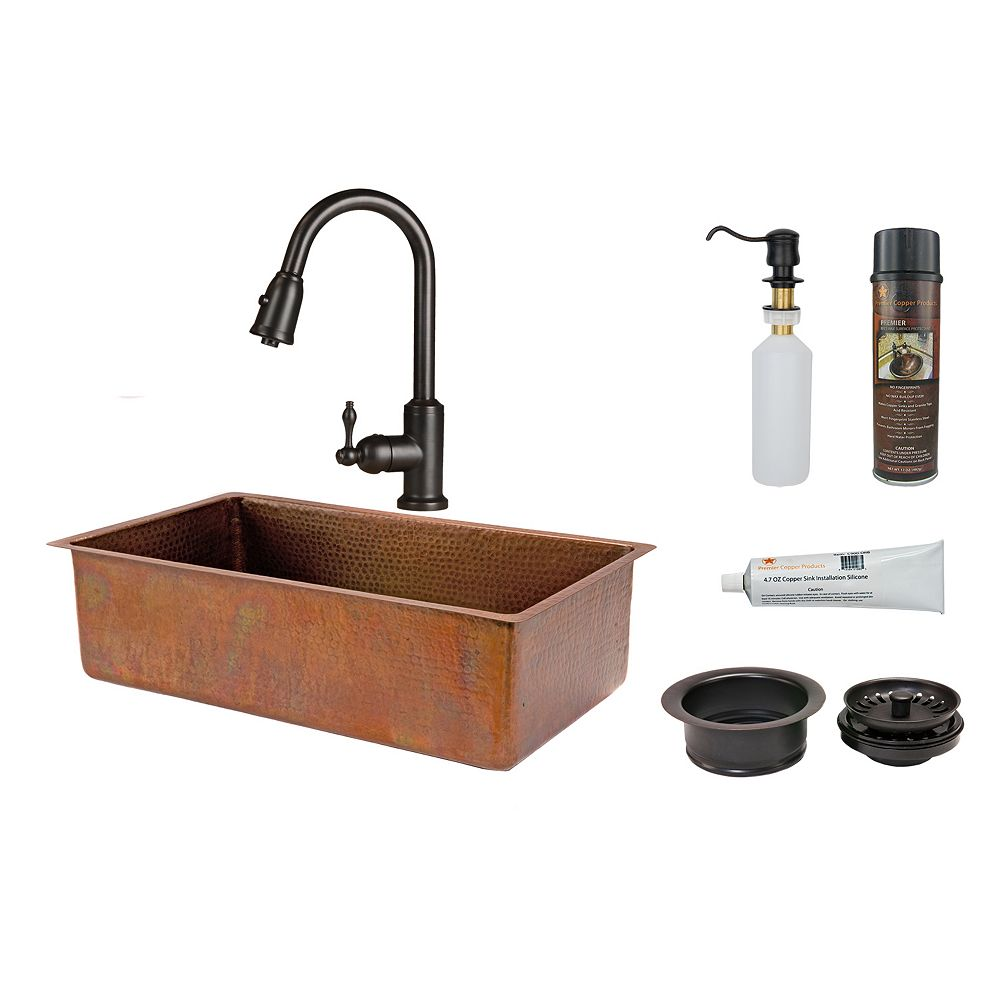 Premier Copper Products All-in-One Dual Mount Copper 33 inch 0-Hole Single Bowl Kitchen Sink in Antique Copper