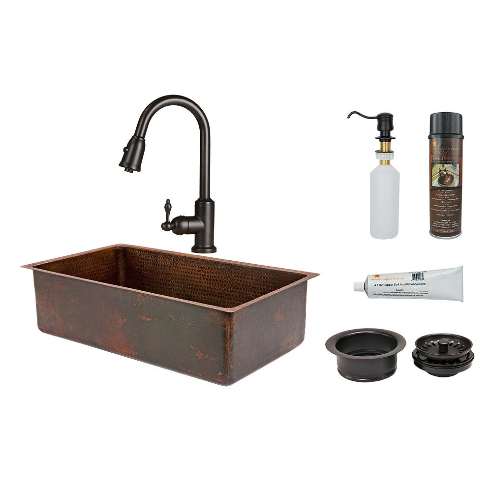 Premier Copper Products All-in-One Dual Mount Copper 33 inch 0-Hole Single Bowl Kitchen Sink in Oil Rubbed Bronze