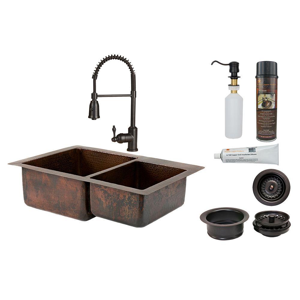Premier Copper Products Évier de cuisine 60/40 à cuve double en cuivre tout-en-un de 33 po en bronze huilé