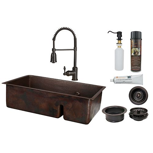 Premier Copper Products All-in-One Dual Mount Copper 33 inch 70/30 Kitchen Sink with Short Divide in ORB_K4
