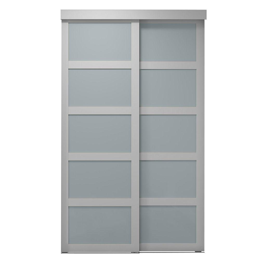 Indoor Studio Indoor Studio 5 Lite 60 in. x 80.5 in. MDF Vinyl Frosted Sliding Closet Door White