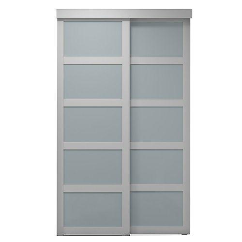 Indoor Studio 5 Lite 60 in. x 80.5 in. MDF Vinyl Frosted Sliding Closet Door White