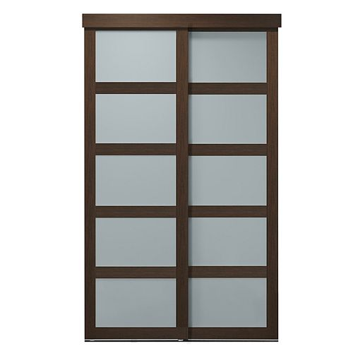 Indoor Studio 5 Lite 60 in. x 80.5 in. MDF Vinyl Frosted Sliding Closet Door Mocha