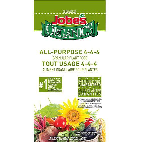 Aliment granulaire pour plantes tout usage et biologique 4-4-4, 4 lb