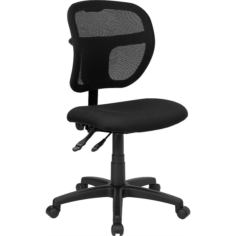 Flash Furniture Mid-Back Black Mesh Swivel Task Office Chair with Back Height Adjustment