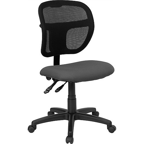 Flash Furniture Mid-Back Gray Mesh Swivel Task Office Chair with Back Height Adjustment