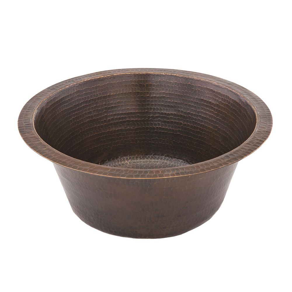 Premier Copper Products Dual Mount Round Copper 16 inch 0-Hole Single Bowl Bar Sink in ORB with 3.5 inch Drain Size
