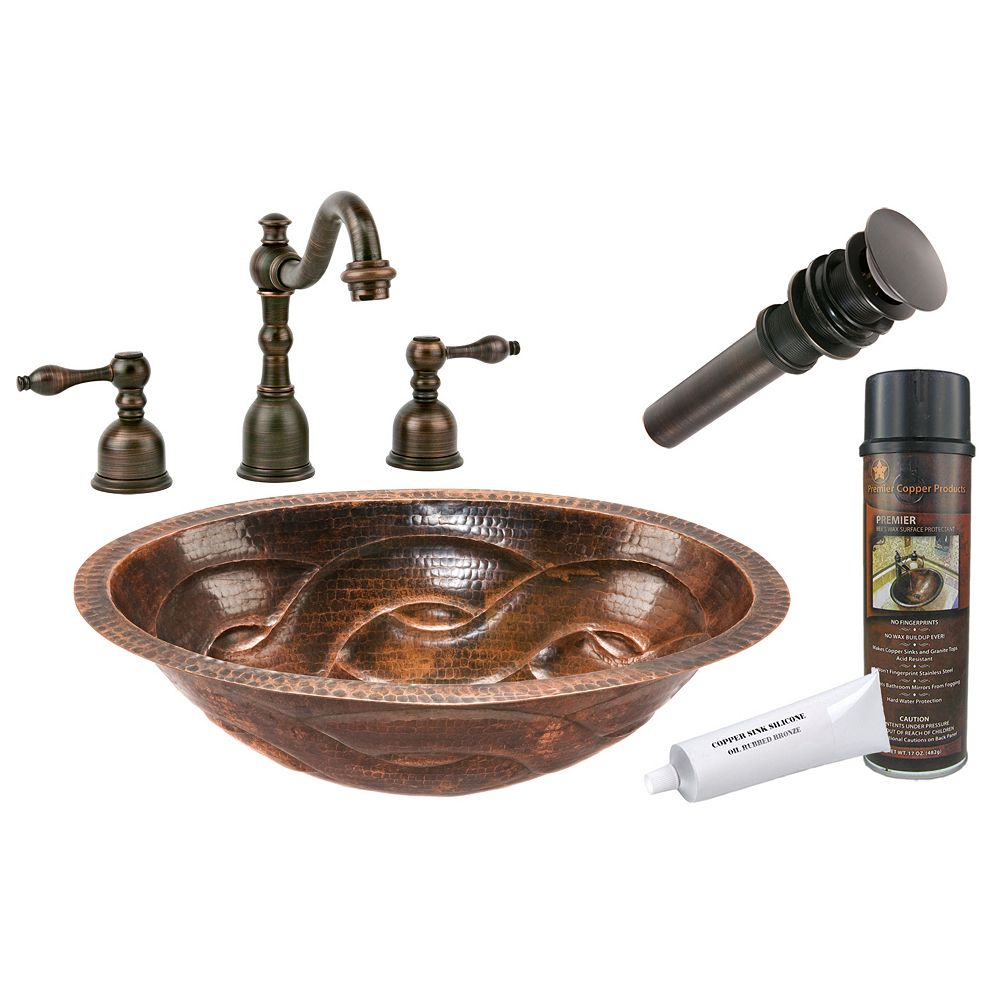 Premier Copper Products All-in-One Dual Mount Oval Braided Copper 19 inch 0-Hole Bathroom Sink in Oil Rubbed Bronze
