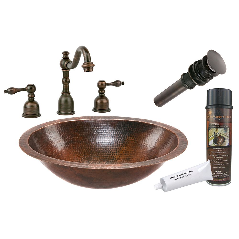 Premier Copper Products All-in-One Dual Mount Oval Copper 19 inch 0-Hole Bathroom Sink in Oil Rubbed Bronze