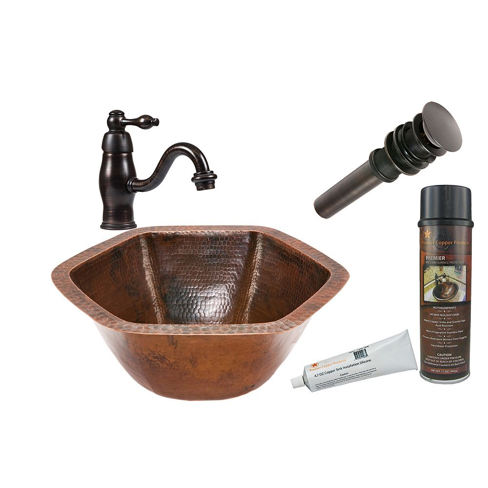 Premier Copper Products All-in-One Dual Mount Hexagon Copper 15.5 inch 0-Hole Bathroom Sink in Oil Rubbed Bronze