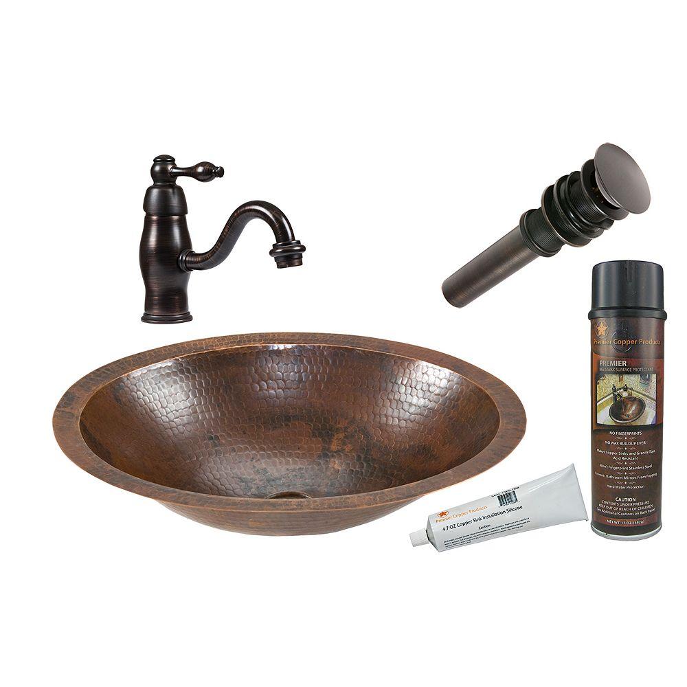 Premier Copper Products Lavabo de salle de bain de 17 po cuivre ovale tout-en-un en bronze huilé-F