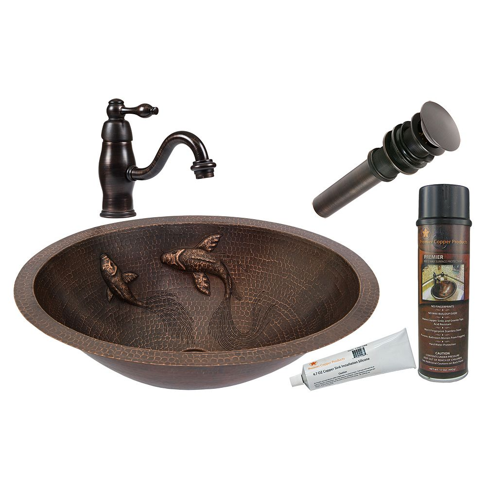 Premier Copper Products All-in-One Dual Mount Oval Koi Fish Copper 19 inch 0-Hole Bathroom Sink in Oil Rubbed Bronze