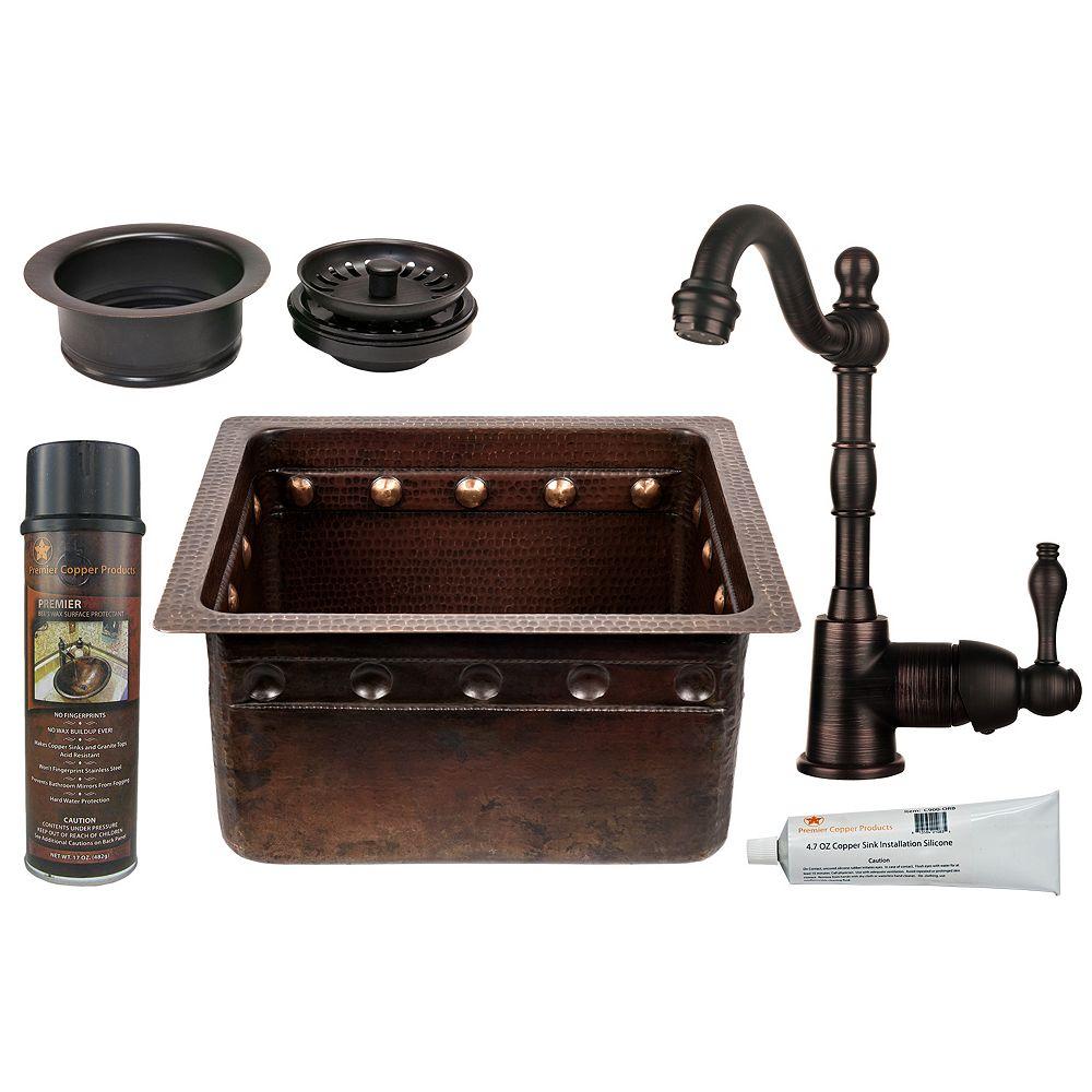 Premier Copper Products All-in-One 16 inch Rectangle Copper Barrel Strap Bar Sink in ORB and 3.5 inch Garbage Disposal Drain