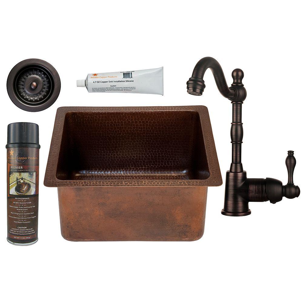 Premier Copper Products Lavabo-barre rectangulaire en cuivre tout-en-un de 16 po avec robinet de vidange de 3,5 po-D