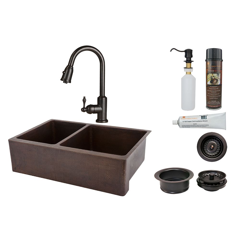 Premier Copper Products All-in-One Farmhouse/Apron-Front Copper 33 inch 0-Hole Double Bowl 40/60 Kitchen Apron Sink in ORB