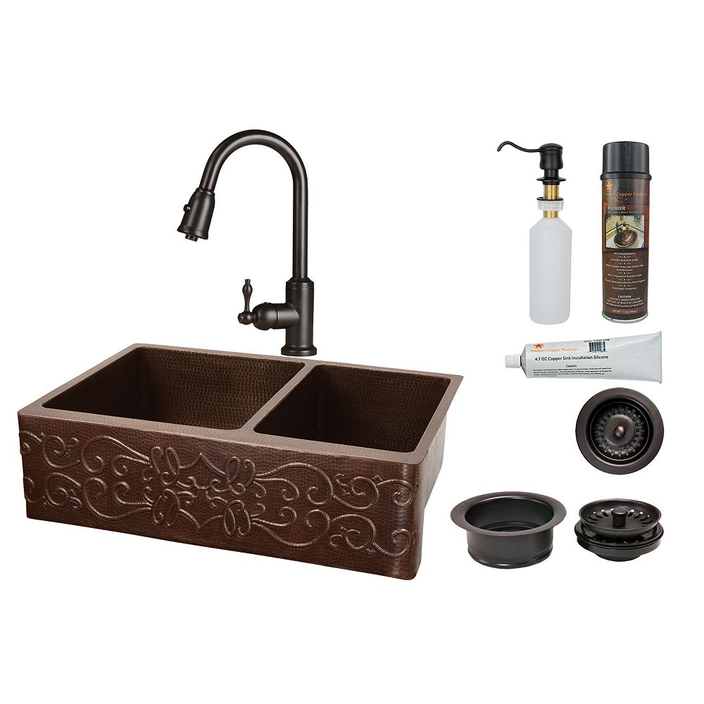 Premier Copper Products All-in-One Farmhouse/Apron-Front Copper 33 inch 0-Hole 60/40 Kitchen Scroll Apron Sink in ORB
