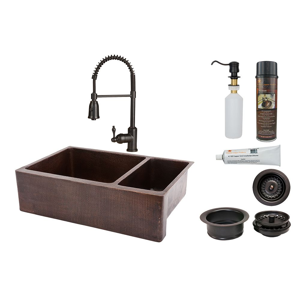 Premier Copper Products All-in-One Farmhouse/Apron-Front Copper 33 inch 0-Hole Double Bowl 75/25 Kitchen Apron Sink in ORB