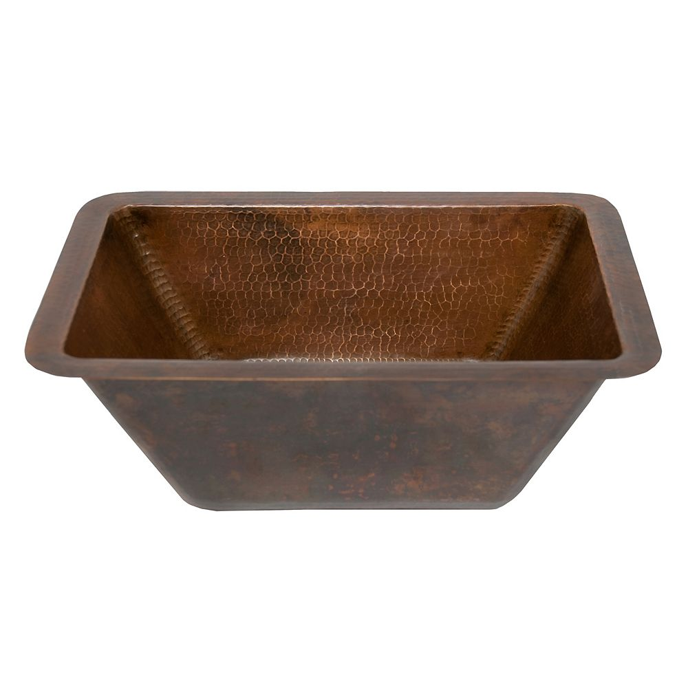 Premier Copper Products Dual Mount Rectangle Copper 17 inch 0-Hole Bathroom Sink in Oil Rubbed Bronze