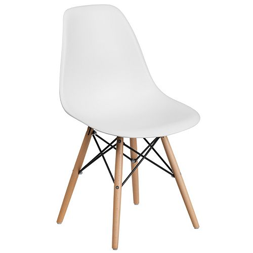 Elon Series White Plastic Chair with Wooden Legs
