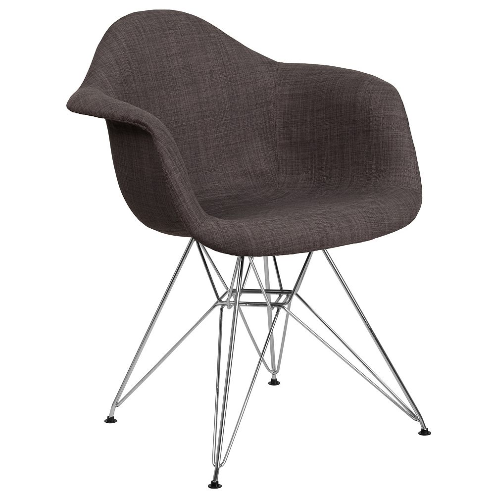 Flash Furniture Alonza Series Siena Gray Fabric Chair with Chrome Base