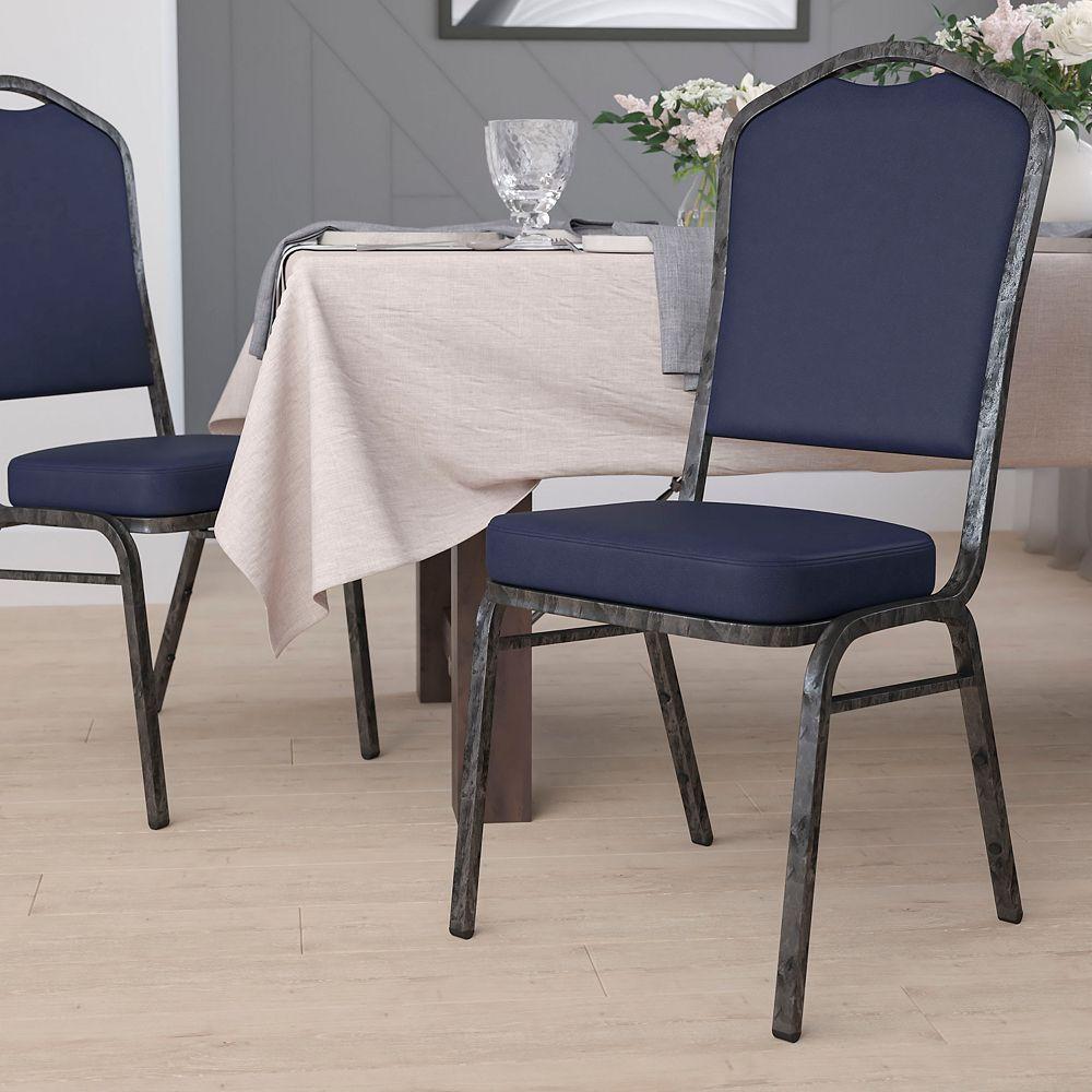 Flash Furniture Chaise de banquet en vinyle marine.