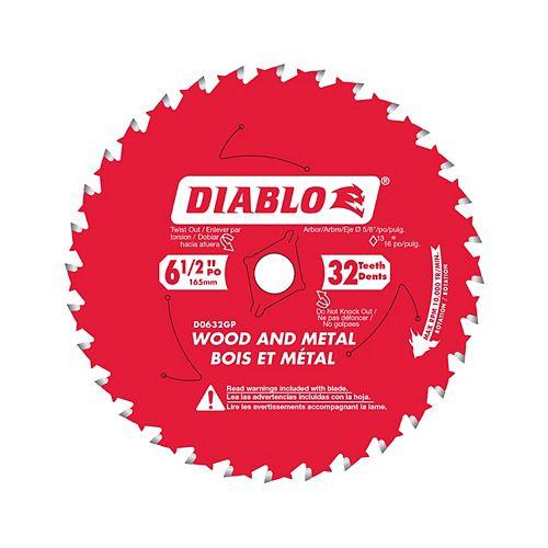 Lame 6-1/2 po. circulaire pour bois et métal