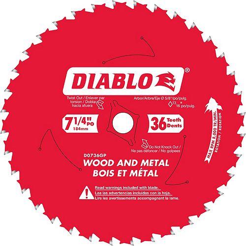 Lame 7-1/4 po. circulaire pour bois et métal