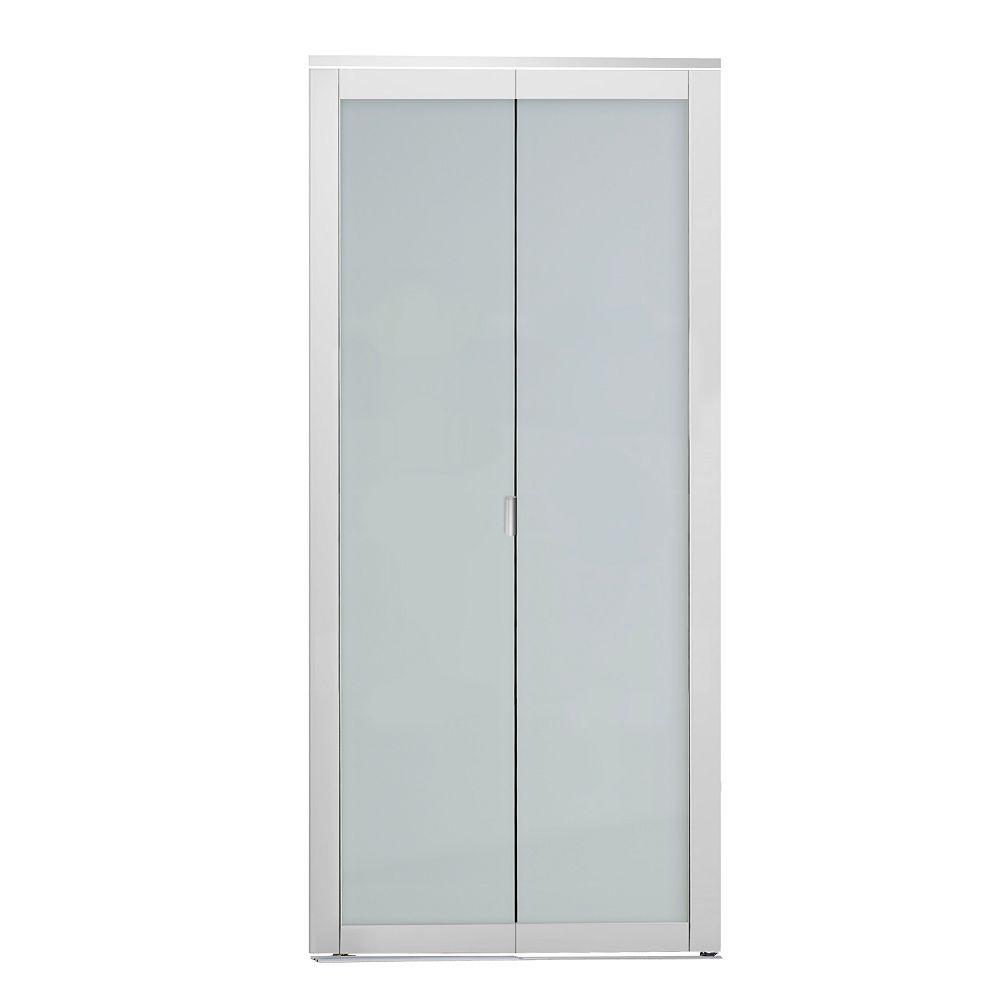 Indoor Studio Indoor Studio 1 Lite 24 in. x 80.5 in. MDF Vinyl Frame Frosted Glass Bifold Closet Door White