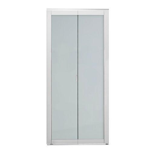 Indoor Studio 1 Lite 30 in. x 80.5 in. MDF with  Vinyl Frame Frosted Glass Bifold Closet Door White