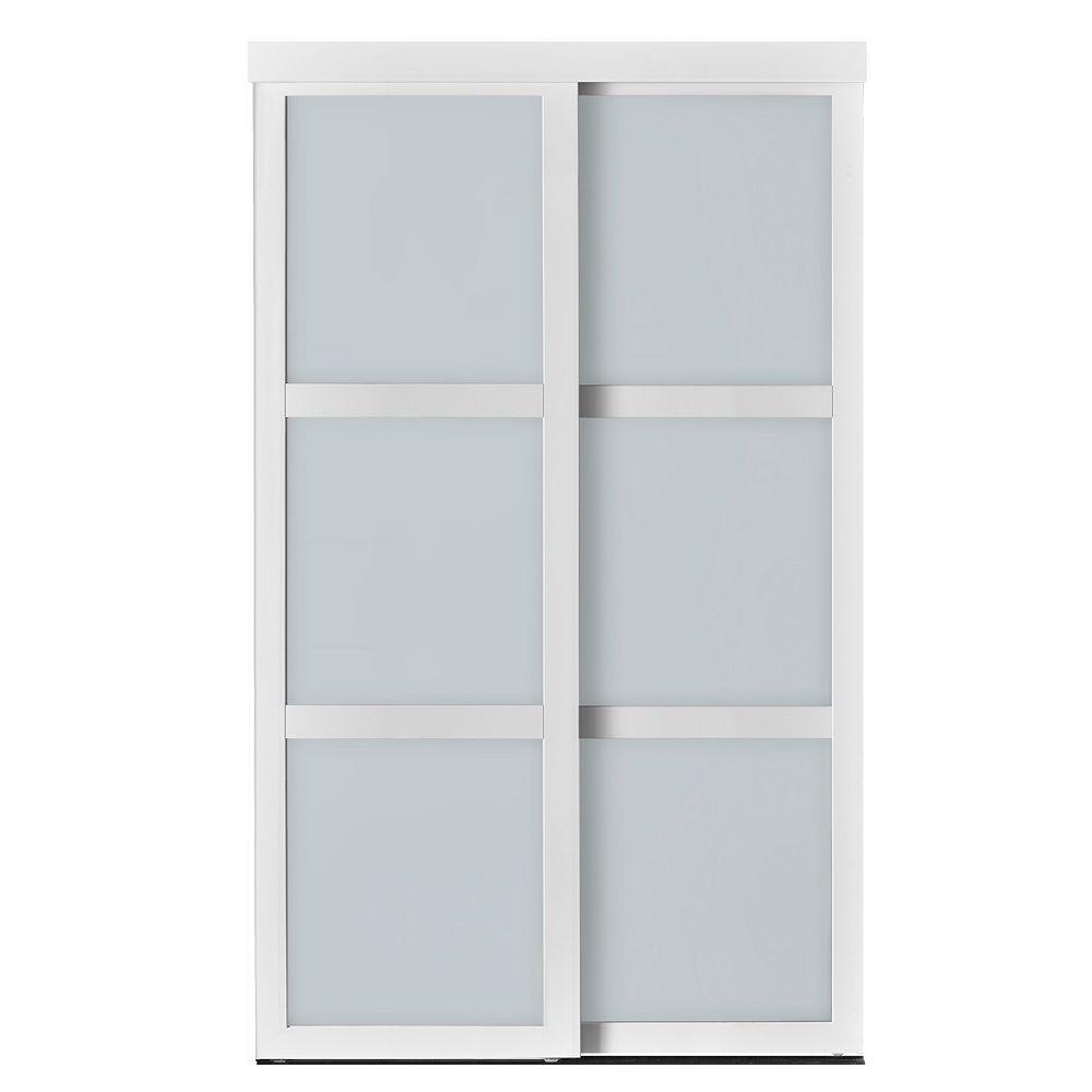 Indoor Studio Indoor Studio 3 Lite 60 in. x 80.5 in MDF Vinyl Frosted Glass Sliding Closet Door Mocha