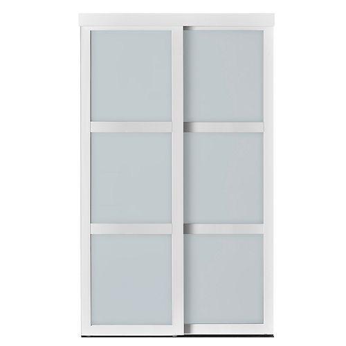 Indoor Studio 3 Lite 60 in. x 80.5 in MDF Vinyl Frosted Glass Sliding Closet Door Mocha