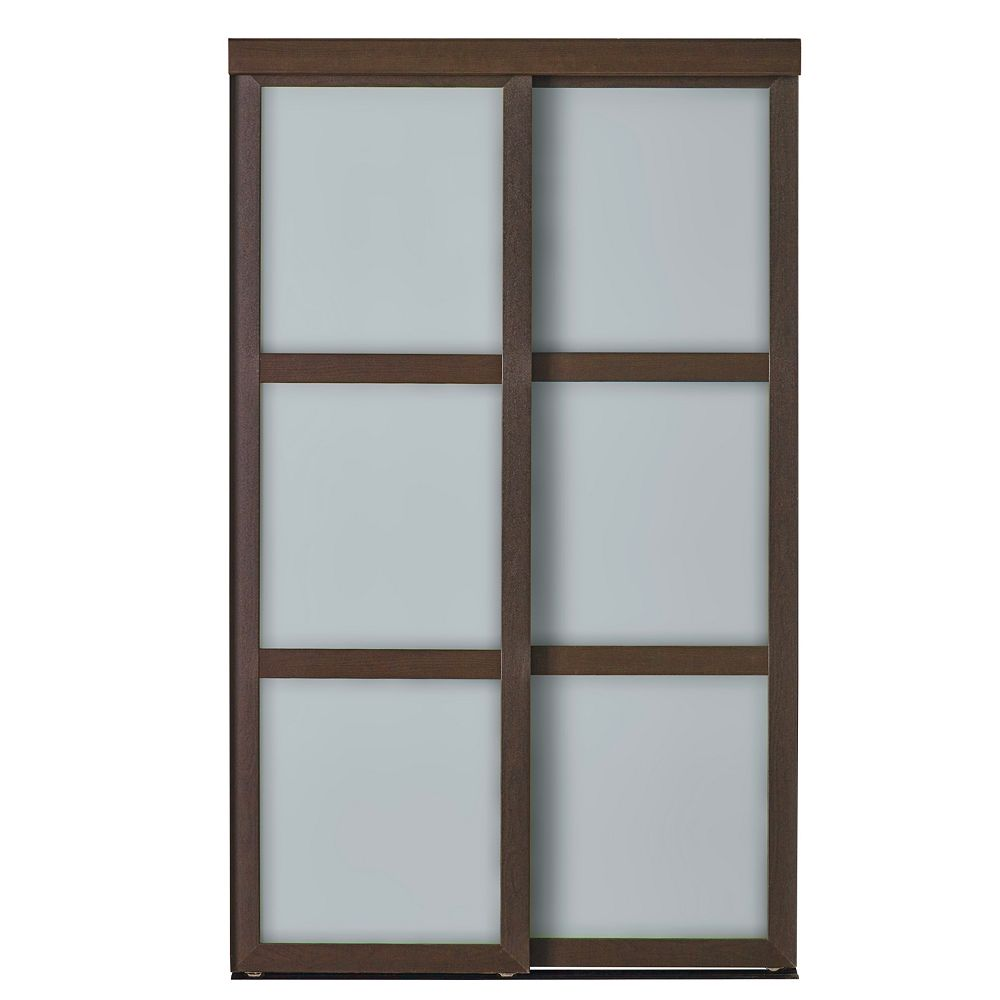 Indoor Studio 3 Lite Indoor Studio 60 po X 80.5 po Porte Placard en cadre MDF avec fini vinyl et verre givré