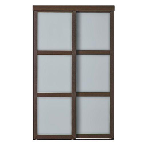 Indoor Studio 3 Lite 60 in. x 80.5 in MDF Vinyl Frosted Glass Sliding Closet Door White