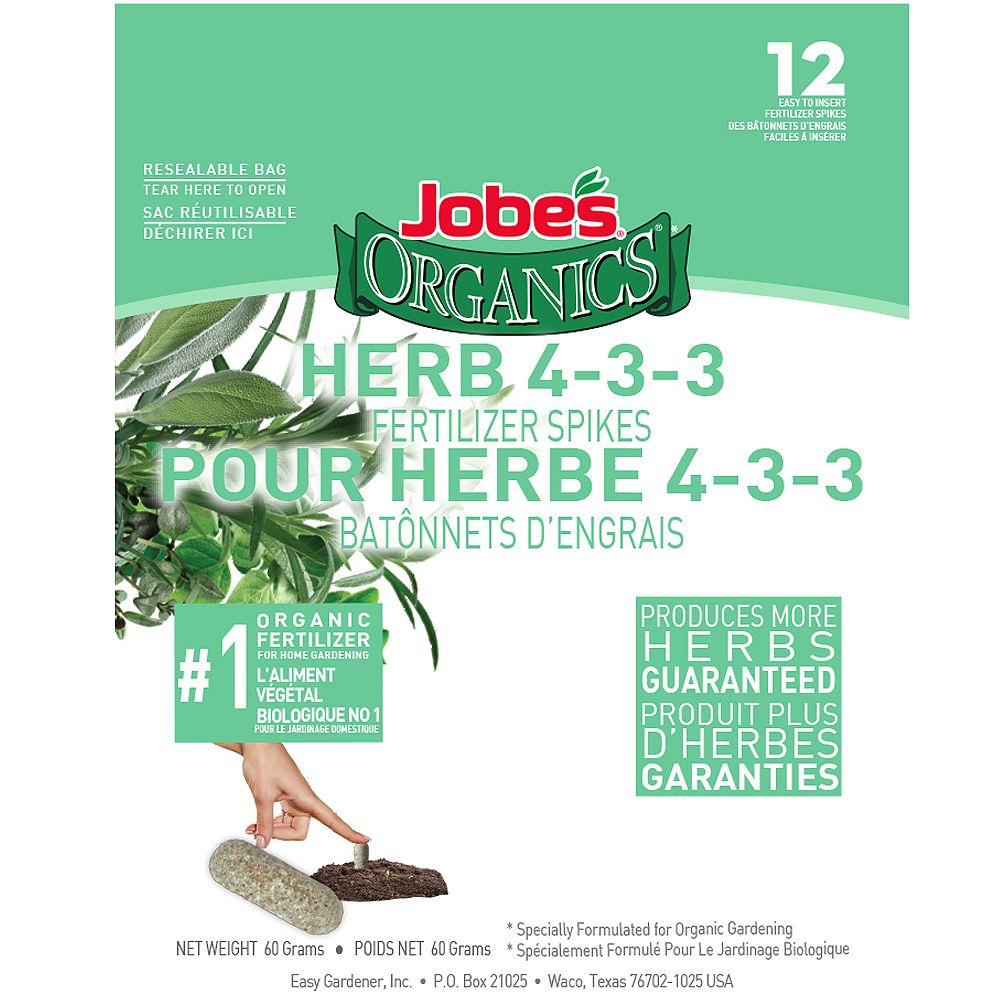 Jobe's Organics Herb 4-3-3 Fertilizer Spikes