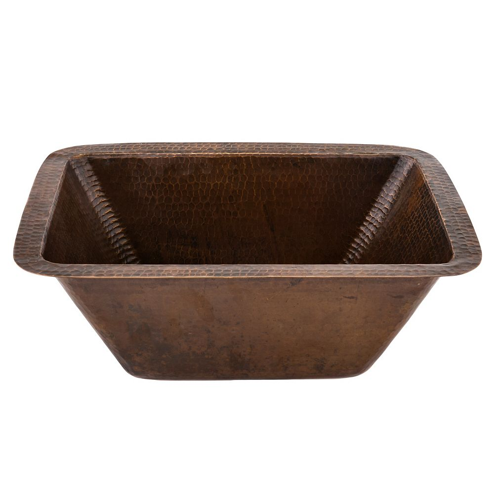 Premier Copper Products Dual Mount Rectangle Copper 17 inch 0-Hole Single Bowl Bar Sink in ORB with 2 inch Drain Size