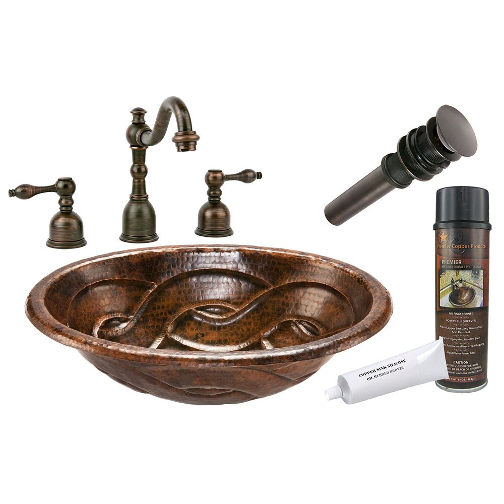 Premier Copper Products All-in-One Drop In Oval Braided Copper 19 inch 0-Hole Bathroom Sink in Oil Rubbed Bronze
