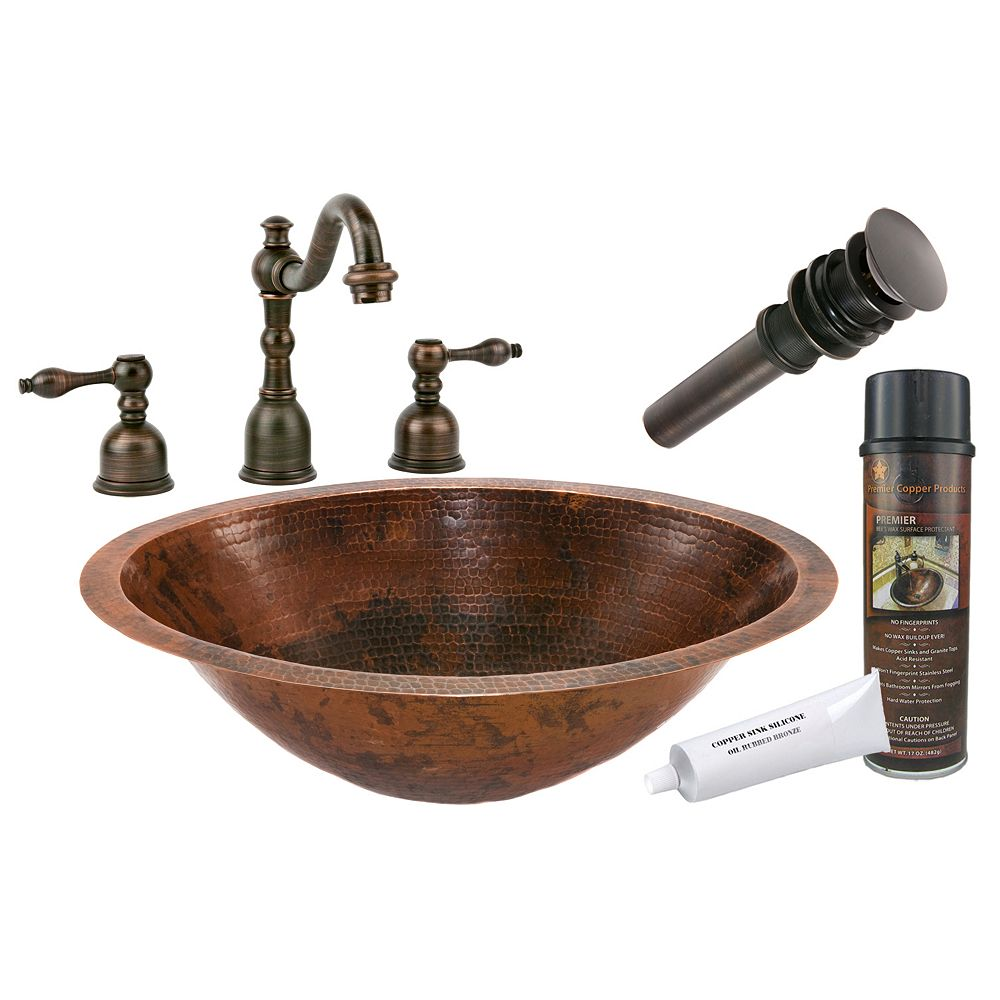 Premier Copper Products All-in-One Dual Mount Master Bath Oval Copper 20 inch 0-Hole Bathroom Sink in Oil Rubbed Bronze