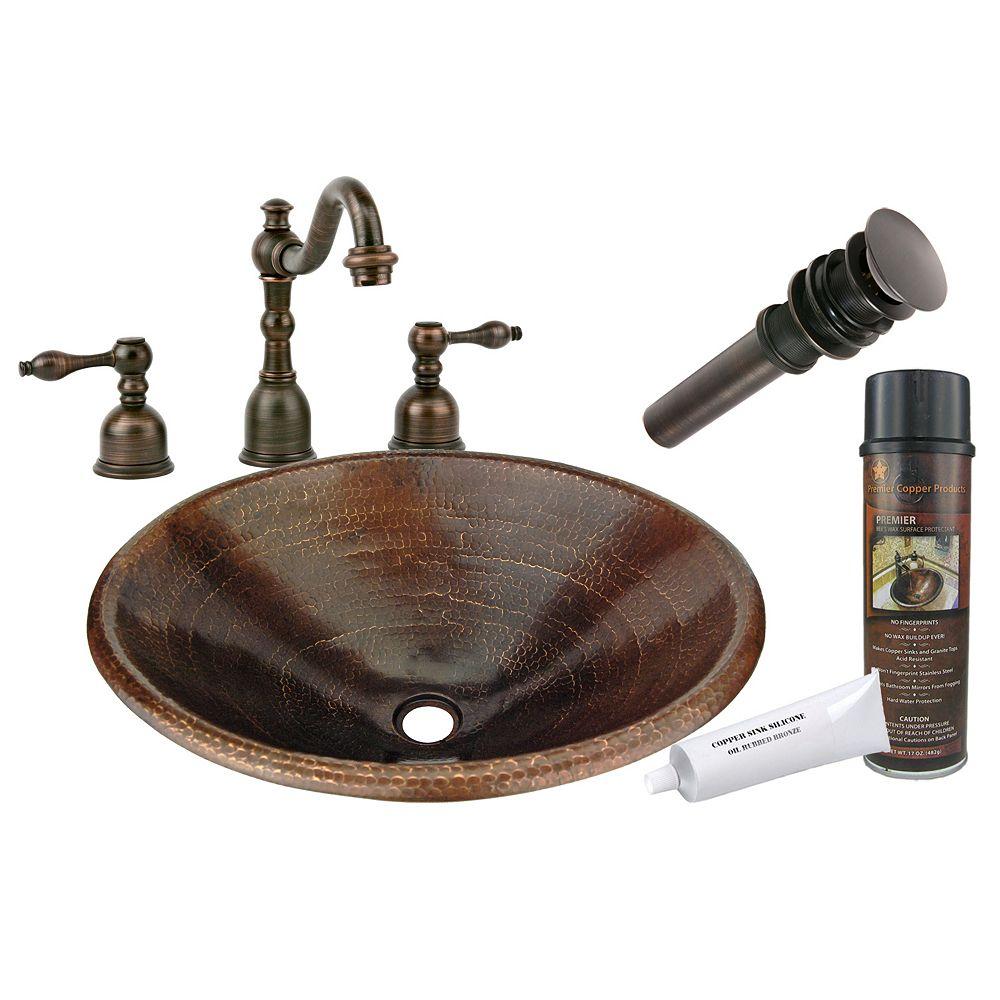 Premier Copper Products Lavabo de la salle de bain 20 po tout-en-un Master Bath Ovale en cuivre bronze huilé-R