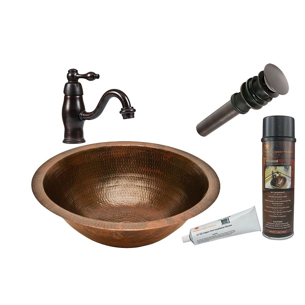 Premier Copper Products All-in-One Dual Mount Round Copper 17 inch 0-Hole Bathroom Sink in Oil Rubbed Bronze